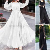 Oversize Femme Couture en Dentelle Manche Longue O-Cou Long Maxi Dress Robe Plus