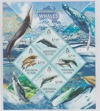 Solomon Islands Australian Fauna Whales 2 Stamp Sheets 2013 UM