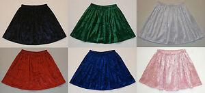 Girls Crushed Velvet Stitched Elasticated Waist Skirt Many Colours Easy Care