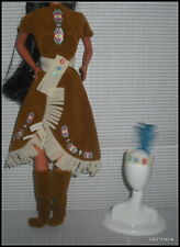Outfit Barbie Doll Native American Indian Dress Brown Fringe Moccasins Accessory
