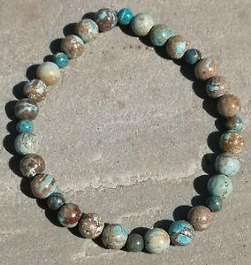 Genuine Natural Blue Crazy Lace Agate Beaded Stretchy Bracelet