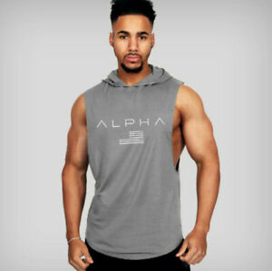 Men Gym Hooded Tank Top Sleeveless vest Bodybuilding Cotton Workout Fitness