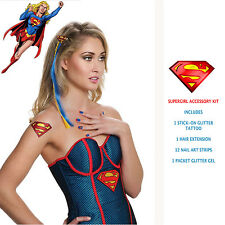 Supergirl Costume Accessory Kit Nail Decals Hair Extension Glitter Gel Tattoo