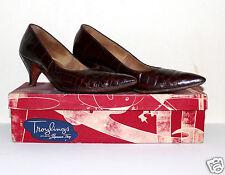 Troylings Seymour Troy brown alligator high heels vintage 1952  8 AAA