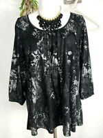 Avenue top Sz 14/16 1X Black Silver Shirt stretch 3/4 sleeve Womens Blouse