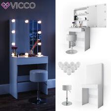 Vicco Table de maquillage Melle commode de coiffeuse miroir LED blanc + tabouret