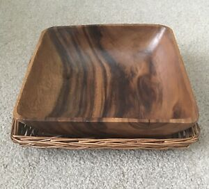Medium Sized Solid Wooden Square Fruit Bowl & Complementary  Basket Contemporary