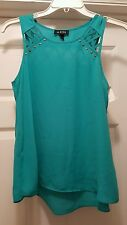 A. Byer Ladies Sleeveless Top/Blouse, Decorative cutout/Studs, Green, Sm.