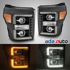 For 2011-2016 F250/F350/F450/F550 LED DRL/Signal Black Projector Headlights