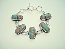 """AB Rainbow Calsilica Turquoise Red Green Bracelet Wrist Chain Silver 6.5-7.5"""""""