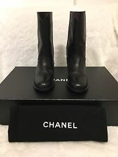 Chanel Black Leather CC Logo High Boots 35.5 $1,475