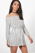 d613a134bab9 Boohoo Petite Imogen off The Shoulder Dress White Size UK 4 Dh088 BB 13