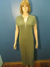 XL green stretchy front zip dress by GUESS