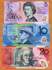SET Australia, $5-10-20, 2013, Polymer, P-57-58-59, UNC