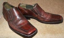 Men's Frank Wright Shoes Brown Tan Leather Slip On Size 9 Classic Square Toe