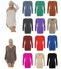 Women Girls Stretch Bodycon V Neck Fluffy Long Sleeve Top Sweater Ladies Jumper