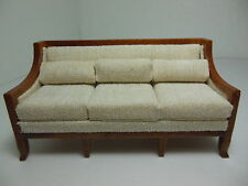 Dollhouse Miniatures Furniture 1/12: 3220vewn Walnut Upholstered Couch