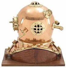 Antique Divers Diving Helmet With Wooden Base U.S Navy Mark IV Copper Plating
