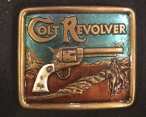 Vtg 1976 COLT Revolver Belt Buckle Gun Rifle  Civil War Brass Handgun~NEW!