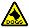 3 x LARGE DOG WARNING TRIANGLES STICKERS                             (s310)