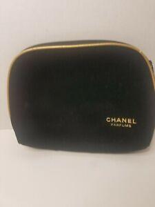 Chanel Black And Gold Velvet Travel Size Makeup Bag