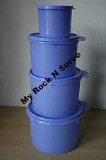 Tupperware Set 4 Round Nesting Storage Canister Container  Misty Lilac New