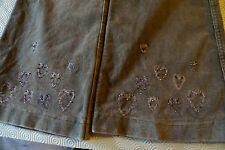 PATCH PRINCESS pale brown velvet trousers with embroidered hearts age 11