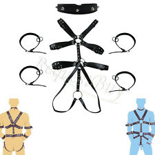 Mens Leather Full Body Suit Harness Gay Interest Underwear Clubwear Costume