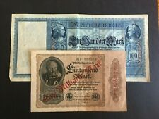 GERMAN, WEIMAR. TWO REICH MARK BANK NOTES FROM DIFFERENT ISSUES -:- CIRCULATED