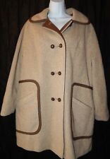 Wool Coat Peacoat Penguin Fashions M L Liman Brown White Houndstooth Ladies