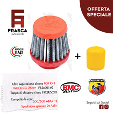 KIT FILTRO CONICO BMC + TAPPO FIAT 500 - 595 ABARTH POP OFF SFIATO ESTERNO 25mm