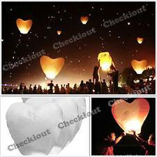 40 WHITE HEART Chinese Fly Sky Paper Kongming Floating Wishing Lantern Wedding
