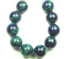 10 GREEN/BLUE NATURAL Azurite Malachite Round Beads 12mm K3124