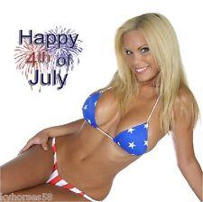 Sexy Happy Fourth Of July Fireworks Model In Bikini Refrigerator Magnet
