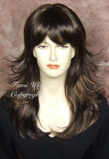 Layered Flip Wavy Wig in Brown+Highlights /100% Japanese Fibre Brilliant Quality