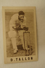 1940's Vintage G.J.Coles Cricket Card - D. Tallon - Queensland.