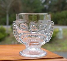 Tiki Party Clear Margarita Glass 2 Sided Comedy Tragedy Tropical Hawaiian Hawaii