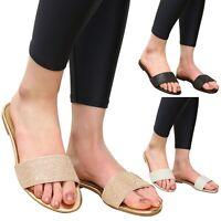 Ladies Summer Beach Sandals Women Diamante Sliders Casual Flats Mules Shoes Size
