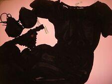Victoria's Secret 32DD/34D BIKINI+ruffle itsy+S,M long COVER UP/GOWN/DRESS BLACK