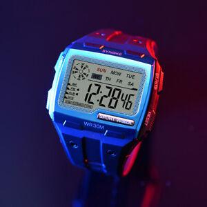 Men's Sports Digital Watch Waterproof Alarm Stopwatch Electronic Wristwatch
