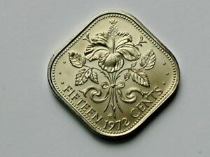 Bahamas 1972 FM 15 CENTS Coin UNC Matte-Lustre with Unconventional 4-Sided Shape