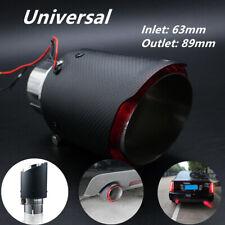 1PC 63mm Red Matte Inlet LED Light Car Muffler Carbon Fiber Exhaust&Mufflers Tip