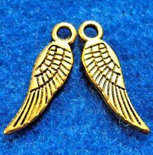 100Pcs. WHOLESALE Antique Gold ANGEL Wings Tibetan Charms Pendants Drops Q0873