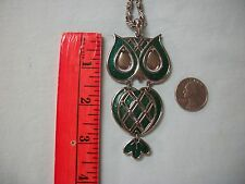 ViNTAGE ICoNiC 60's~70' MeTaL GREEN ENaMeL OWL PENDaNT~BEAuTiFUL CHAiN<QUALiTY>!