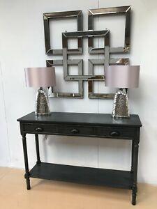 FEVERHSAM Dark Grey Console Table kitchen hallway console table, 3 drawers,shelf
