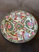 CHINESE OLD GREEN AND RED PINK COLORED PORCELAIN PLATE