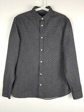 All Saints Cresco Long Sleeve Grey Spotted Brushed Cotton Shirt Size Small S