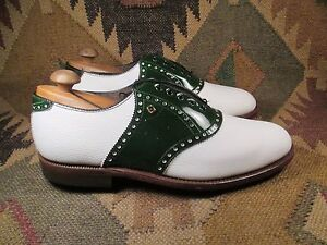VTG FootJoy Two tone White & Green Saddle Oxford Golf shoes Size 10.5 EE