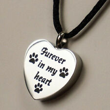"Cremation Urn Necklace, Dog or Ca || Laser Engraved ""Furever in my heart"" & Paws"