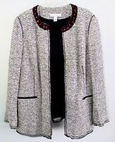 Chicos Womens Large (2) Black White Tweed Jacket Blazer Red Beaded Collar Career